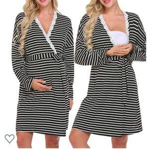 Long sleeve Nightgown Nursing Robe